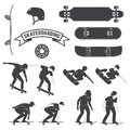 Set of skateboard and skateboarders icon. Vector illustration. Royalty Free Stock Photo