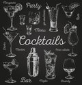 Set of sketch cocktails and alcohol drinks vector hand drawn illustration Royalty Free Stock Photo