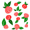Set of sketch roses and leaves isolated on white laconic cartoon pink green spring design elements Royalty Free Stock Photo