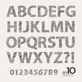 Set of sketch vector alphabet and numbers editable Royalty Free Stock Photography