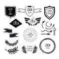 Set of sketched template retro vintage badges