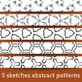 Set of sketches abstract seamless patterns Stock Image