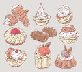 Set of sketches of cakes