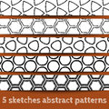 Set of sketches geometric seamless patterns Royalty Free Stock Photo