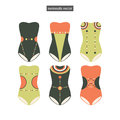 Set of sketches swimwear for design Stock Photo