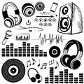Set of sketchy music symbols and icons vector Stock Photo