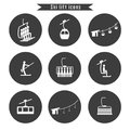 stock image of  Set of ski cable lift icons for ski and winter sports.