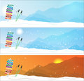 Set of ski trip banners with most famous destinations Royalty Free Stock Photo
