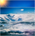Set of sky banners various weather Royalty Free Stock Image