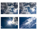 Set of sky and clouds with sun in star shape Stock Image