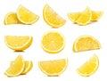 Set of Slice Lemon isolated on white background Royalty Free Stock Photo