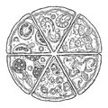 Set slice pizza Pepperoni, Hawaiian, Margherita, Mexican, Seafood, Capricciosa. Vintage vector engraving illustration for poster,