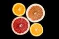 Set of sliced citrus fruits orange, grapefruit Royalty Free Stock Photo