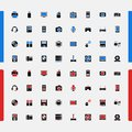 Set of small icons household appliances consumer electronics vector computer headset internet Stock Images