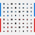 Set of small icons household appliances consumer electronics vector kitchen bathroom machine cooking Stock Images