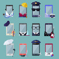 Set of Smarphone in Costume Different Professions Royalty Free Stock Photo