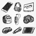 Set of smart media devices and personal gadgets Royalty Free Stock Photo