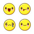 Set of smiley face icons or yellow emoticons with different facial expressions i isolated in white background. Flat