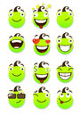 Set of smileys funny and smiling vector illustration isolated on a white background Royalty Free Stock Image