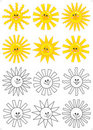 Set of smiling cartoon suns Royalty Free Stock Photo