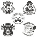 Set of smokers club, gentlemen club labels. Design elements for