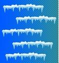 Set of snow icicles, snow cap .