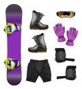 Set of snowboard equipment Royalty Free Stock Photo