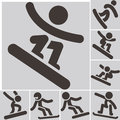 Set snowboard icons Royalty Free Stock Photo