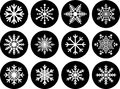 Set of snowflake buttons illustrated different isolated on white background Stock Photos