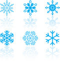 Set of Snowflake Designs Stock Photography
