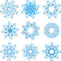 Set snowflakes Stock Photos
