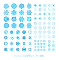 Set of snowflakes christmas icons blue fractals or mandala raster version Stock Photos