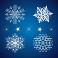 Set of snowflakes and stars vector