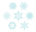 Set of snowflakes on the white background Royalty Free Stock Photo