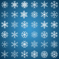 Set of snowflakes white various forms on blue background Royalty Free Stock Photography