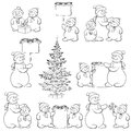 Set snowman and christmas tree outline cartoon with gifts a banners for your text black contour on white background Royalty Free Stock Photos