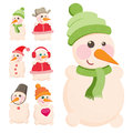 Set snowman vector of cute snowmen eps Royalty Free Stock Image