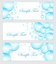 Set of soap bubbles, water droplets banner. Banner template with bubbles. Colored soap bubbles banner. Vector illustration Royalty Free Stock Photo