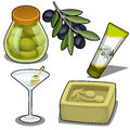 Set of soap, cream, cocktails and marinated olives