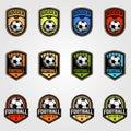 Set of soccer ball emblem football logo vector illustration