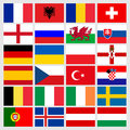 Set of 24 soccer balls icons flags of the participant countries. Football Euro cup 2016 Royalty Free Stock Photo