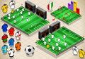 Set of Soccer fields in six different positions Royalty Free Stock Photos
