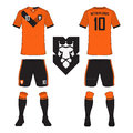 Set of soccer jersey or football kit template for Netherlands