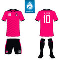 Set of soccer kit or football jersey template for football club. Flat football logo on blue label. Front and back view soccer unif
