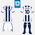 Set of soccer kit or football jersey template for football club. Flat logo on blue label. Front and back view. Football uniform. V Royalty Free Stock Photo