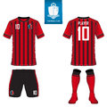 Set of soccer kit or football jersey template. Front and back view. Football uniform. Vector Illustration