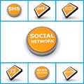 Set of social media buttons Stock Photography