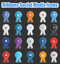Set social media ribbons suitable your web mobile projects full resizable editable high quality Royalty Free Stock Photo