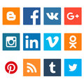 Set of social networking icons. Web design flat icons isolated on white background