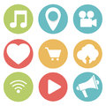 Set of socials icons, background